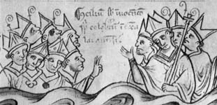 A drawing of the Fourth Lateran Council from the Chronicle of Matthew Paris, Chronica Maiora, Corpus Christi College, Cambridge