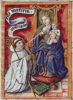 Lactatio (the milk miracle) of Bernard of Clairvaux. Bernard is rewarded by the Virgin Mary by a spray of miraculous breast milk